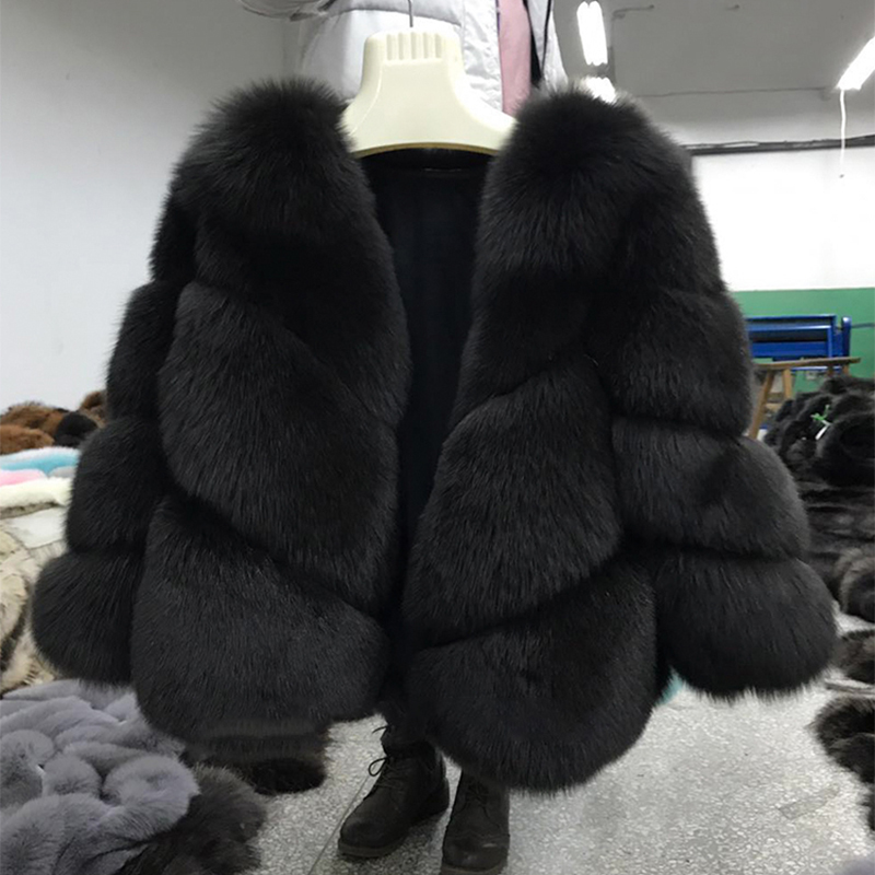 FURSARCAR 2019 New Real Fur Jacket Women Winter Fox Fur Coats Luxury Warm Fashion Twill Design Short Genuine Natural Fur Jacket-in Real Fur from Women's Clothing    2