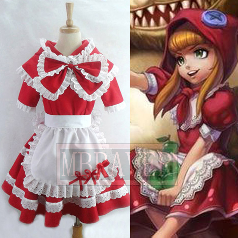 LoL Game Cosplay Costume Annie Little Red Riding the Dark Child Cosplay Costume Lolita Dress for Girls any Size Customed