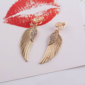 JIOFREE Fashion Angel Rhinestone Wings Clip on Earring No Pierced For Women Ear Charm Earrings Statement Earrings