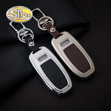 SNCN Car Accessories Zinc Alloy Key Chain Clip Ring With Genuine Leather Key Holder Bag Cover Case For Audi A4 A5 A6 A7 A8