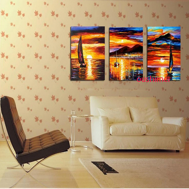 Hand Painted Home Decor Picture Landscape Art Paintings Modern Abstract  Sunrise Paintings For Living Room Decor Part 41