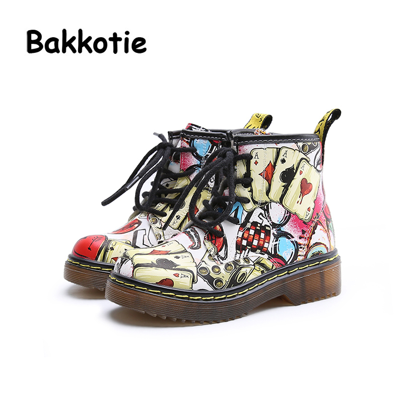 Bakkotie Autumn Fashion British Style Baby Girl Martin Boots Graffiti PU Leather Child Boy Ankle Boots Kid Brand Toddler Shoe bakkotie 2017 new autumn baby boy casual shoes khaki genuine leather black kid girl brand flat shoes soft sole breathable child