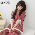 2016 New Brand Spring Bow Lace Suit Women Cotton Breathable Comfortable Night Sleep Wear Clothes