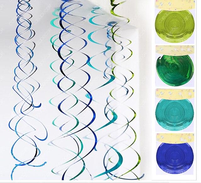 Freeship 24X asst.size Lime green Blue aqua green hanging spiral ...