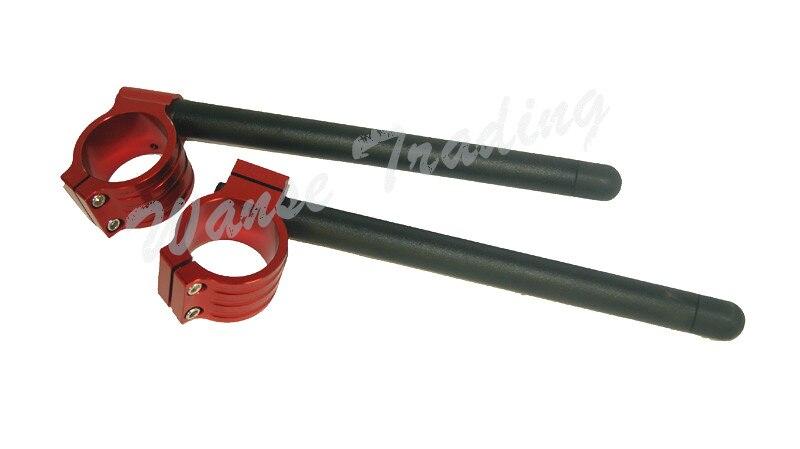 waase CNC Universal Clip on Ons Clipon Fork Tube Handlebars Black Red For 50MM 51MM 52MM