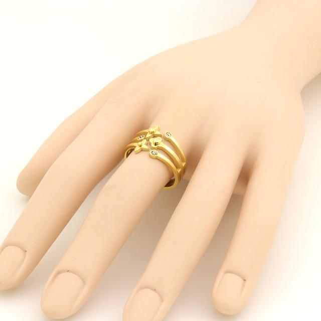 Купить женское кольцо из нержавеющей стали золотистое с кристаллами