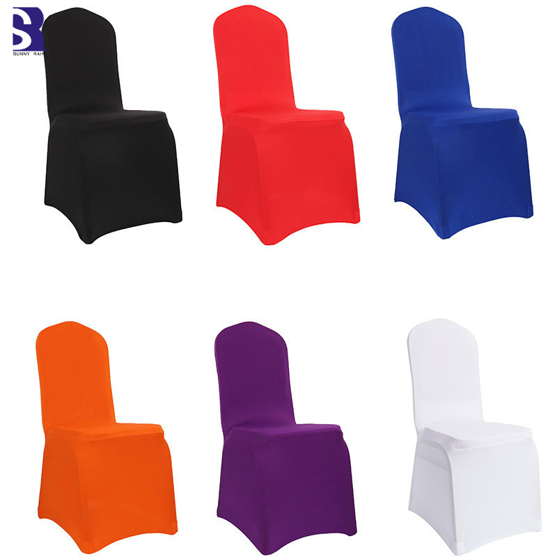SunnyRain 4/6 pieces Thick Weding Party Spandex Chair Covers Stretch Chair Cover White Elastic Cover For Chair