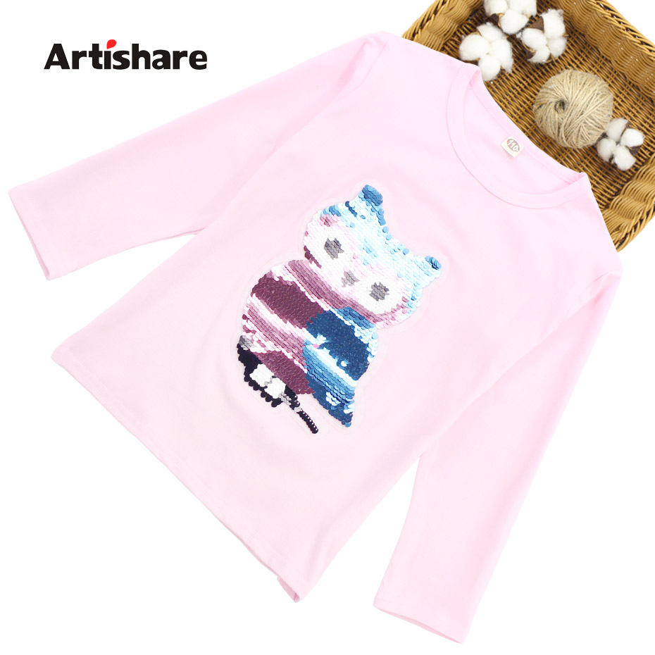T-Shirts For Girls Owl Sequins Shirt Girl Long Sleeve T - Shirt Kids Spring Teenage Clothes For Kids Girl 6 8 10 12 13 14 Year