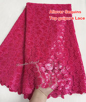 The Most Shining Cotton Guipure Lace Chemical French Cord Lace Allover Sequins High Quality CL404 Fushia