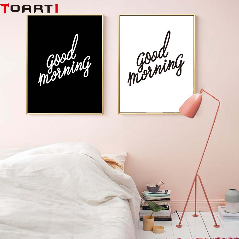 Good Morning Poster Black And White Modern Minimalist Canvas Painting Wall Art Print Modular Wall Picture For Bedroom Home Decor