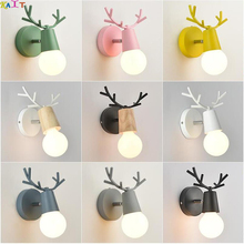 Creative Bedside Wall lamp Simple Staircase Corridor Aisle Children's Room Deer head Nordic Bedroom Living room Wall lamp недорого
