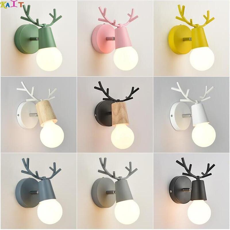 Criativo lâmpada de Parede de Cabeceira Corredor Corredor Escada Simples Quarto das Crianças da cabeça Dos Cervos Nordic Quarto sala lâmpada de Parede