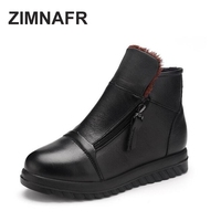ZIMNAFR BRAND 2017 WINTER WOMEN GENUINE LEATHER BOOTS ZIPPER PLUSH WOMEN SNOW BOOTS SIZE 35 41