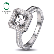 Caimao 18K White gold Natural 0.69ct Diamond 0.16ct Sapphrine Engagement Ring Jewelry Semi Mount 6.5mm Round Cut Setting