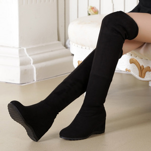 Image 4 - Black Elastic Flock Slim Fit Over The Knee Boots Women 2020 Autumn Winter Sexy ladies high heel wedges Long Thigh High botas