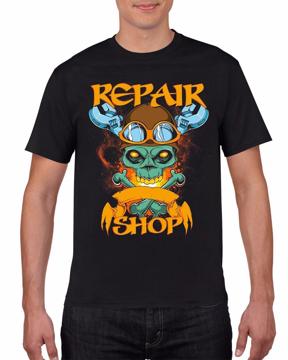 2018 Mens T-Shirt Fashion O Neck T-Shirt Black T-Shirt Repair Shop Skull and Wrench Tee Shirt
