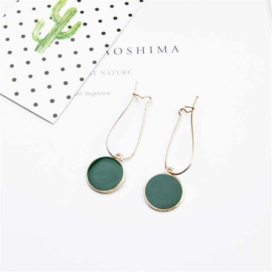 Hot Simple Green Circle Small Fresh Girl drop Earrings Female Personality Wild Short Earrings Vintage Earrings For Women Brincos