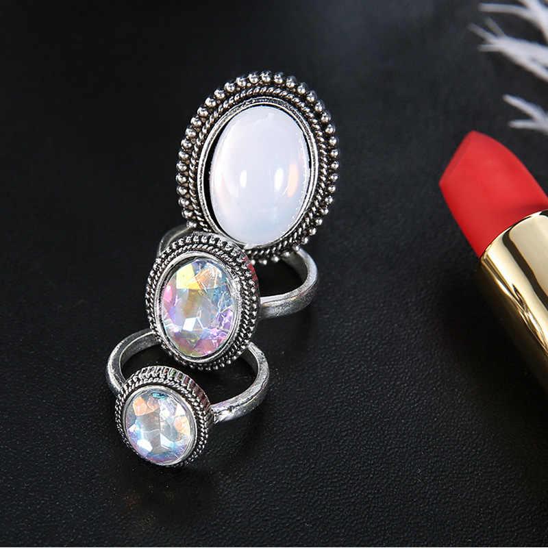 RscvonM Grande 3 pçs/set Bohemia Oval Colorido Opala Pedra Knuckle Midi Anéis Criados para As Mulheres Acessórios De Jóias Anel de Prata