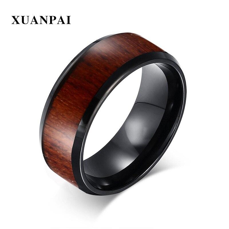 64468b022a0a Anillo de boda para hombre XUANPAI con grano de madera 8mm negro carburo de  tungsteno Inaly anillo de compromiso - a.dupa.me
