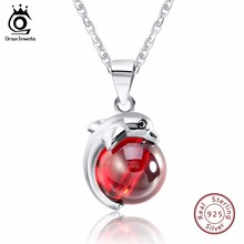 ORSA JEWELS Fashion 925 Sterling Silver Red Natrual Stone Dolphin Pendant Necklaces for Women Genuine Silver