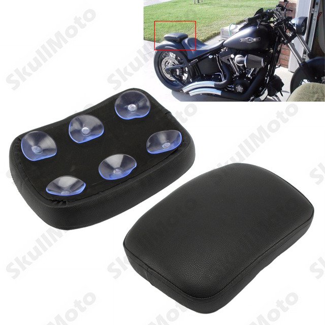 Motorcycle Rectangular Black Rear Passenger Cushion 6 Suction Cups Pillion Pad Suction Seat For Harley Custom Chopper