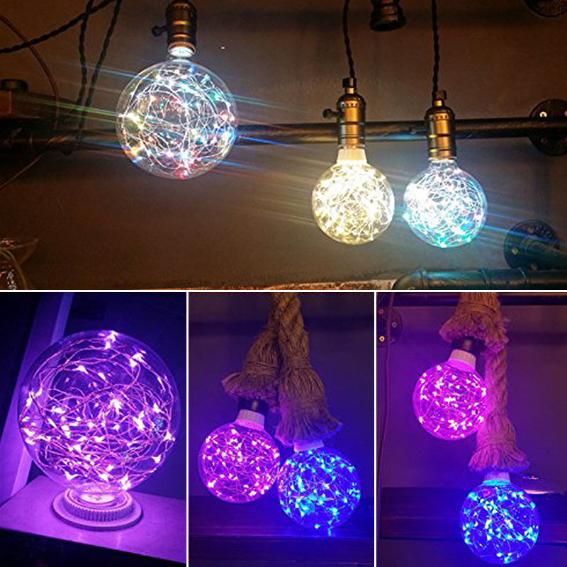 Jiaderui LED RGB Warm White Holiday Light Bulb Christmas String Lamp Indoor E27 Fairy Lamp 110V 220V Edison Decorative Lamp Bulb