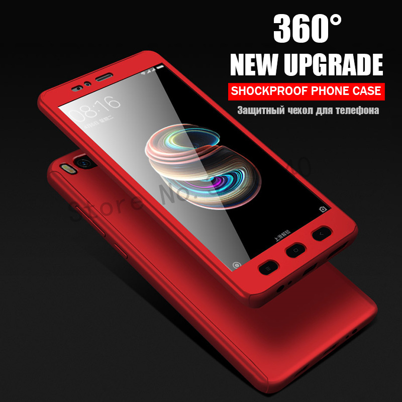 360 Degree Full Cover Cases For Xiaomi MI A1 mi 5x case Phone shell For Xiaomi redmi Note 4 4X case For redmi 4A 4X With Glass0