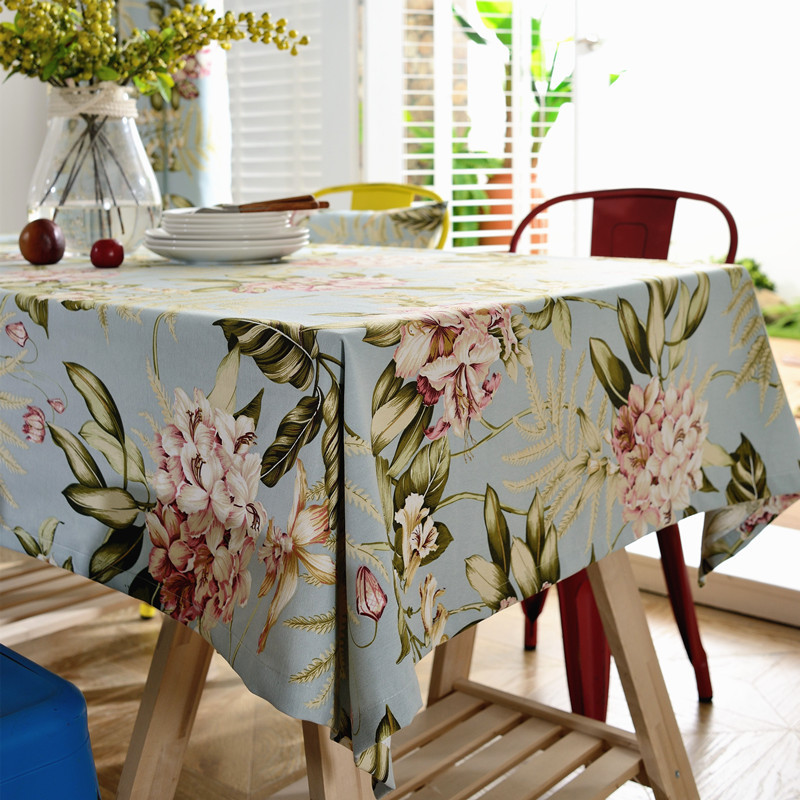 Junwell Decorative Floral Print Tablecloth Wrinkle Free And Stain Resistant  Fabric Tablecloths For Kitchen Room  In Tablecloths From Home U0026 Garden On  ...