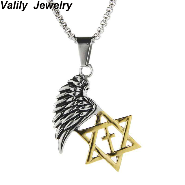Valily hot magen star of david cross pendant necklace gold color valily hot magen star of david cross pendant necklace gold color stainless steel women aloadofball