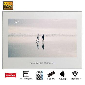 Souria 32 inch Android 7.1 Smart WiFi Full HD Magic Mirror Waterproof Bathroom LED TV Television Salon
