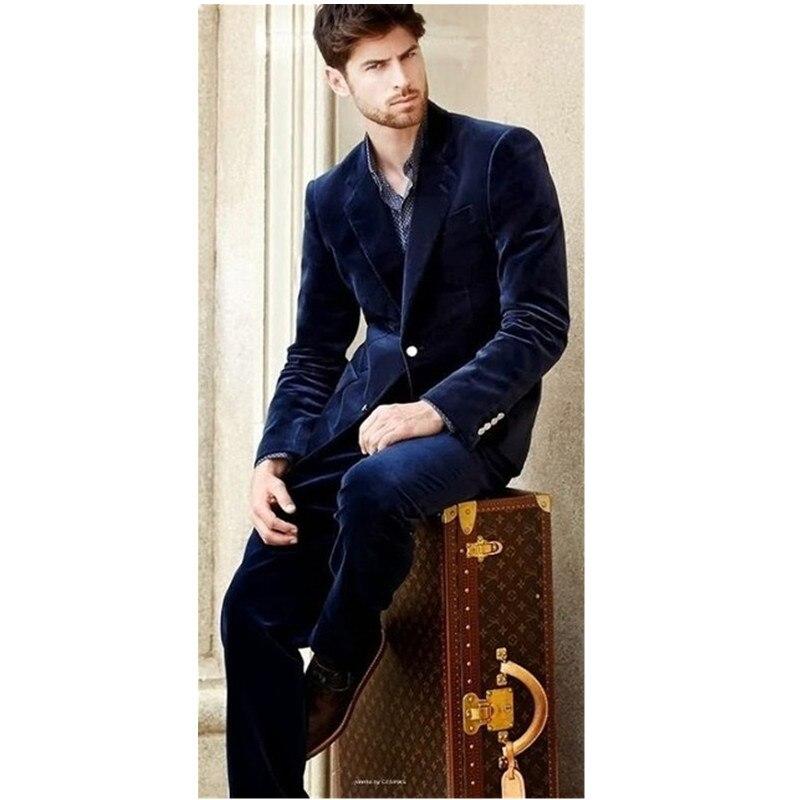 Men Slim Suit Navy Blue Velvet Lapel single breasted velvet fashion suit suit jacket dance pants dinner set (coat + pants)
