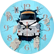 Vintage Car Design Clocks Home Decor Office Cafe Kitchen Silent Wall Watches Wall Art Shabby Chic Large Wall Clock No Ticking стоимость