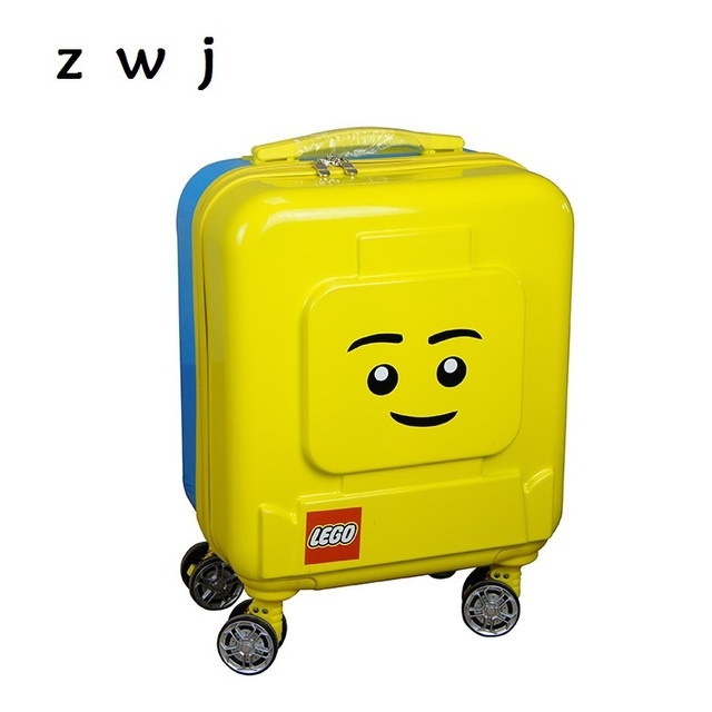 2c1359145c67 Lego 16 inch Luxury Brand Children Travel Hardside Luggage Cartoon Rolling  Luggage Trolley Bag Kids Suitcase On Wheels