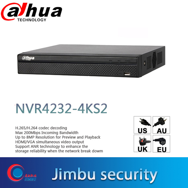 Dahua NVR 4K Video Recorder 32CH NVR4232 4KS2 H.265/H.264 Up to 8MP Resolution for Preview & Playback People Counting IP Camera