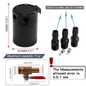 Image 4 - Tanque de aceite RYANSTAR para coche, 2 / 3 puertos con válvula extraíble, separador de aceite de combustible, volante Universal de carreras de aire