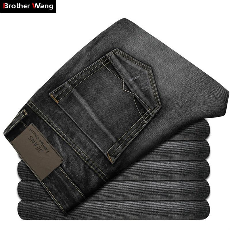Новинка 2017 года Для Мужчин's Джинсы для женщин Высокое качество темно-серый мужской моды досуг Зауженные джинсы бренд Мужская одежда