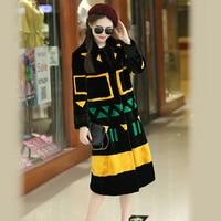Hot Sale Women Winter Newest Patchwork Mink Fur Coat Full Sleeve Mixed Color Faux Mink Fur Outerwear XHSD 127