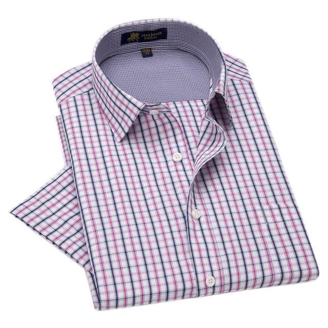 2d785d71962 Latest Summer Style Mens Plaid Shirts Short Sleeved Pin Checkered Casual  Dress Shirts Fashion Social Designer