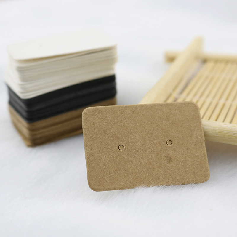 100pcs 2.5x3.5cm Blank Kraft Paper Stud Earring Cards Jewelry Diaplay Label Tag For Jewelry Making DIY Accessories Wholesale