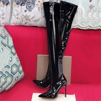 Autumn and winter new women's shoes stretch patent leather sexy bag legs long over the knee boots pointed fashion nightclub wome