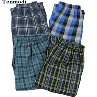 Trousers Men 100% cotton double layer gauze pajama pants spring and summer lounge pants plaid trousers Sleep Bottoms