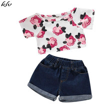 2019 Summer Kid Clothes 2PCS Toddler Baby Girls Clothing Off Shoulder Rose Floral Tops T-Shirt+Denim Shorts Pants for 1-5Y 2018 newborn toddler kids baby girls 3d rose floral off shoulder t shirt tops denim raw hem hot shorts outfits clothes 2pcs set