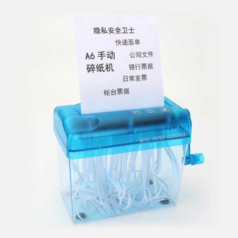 A6 Mini Manual Shredder Desktop Paper Strip Cutter Hand Paper Crusher Paper Cutting Machine for School Office Home Use