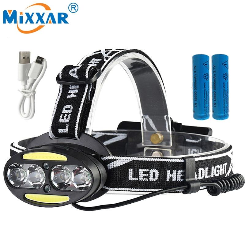 Czk20 Super Bright 4*T6 10000LM LED Headlamp Headlight 2*COB Rechargeable Fish Head Lamp RED Light+2x18650 battery +USB charger r3 2led super bright mini headlamp headlight flashlight torch lamp 4 models