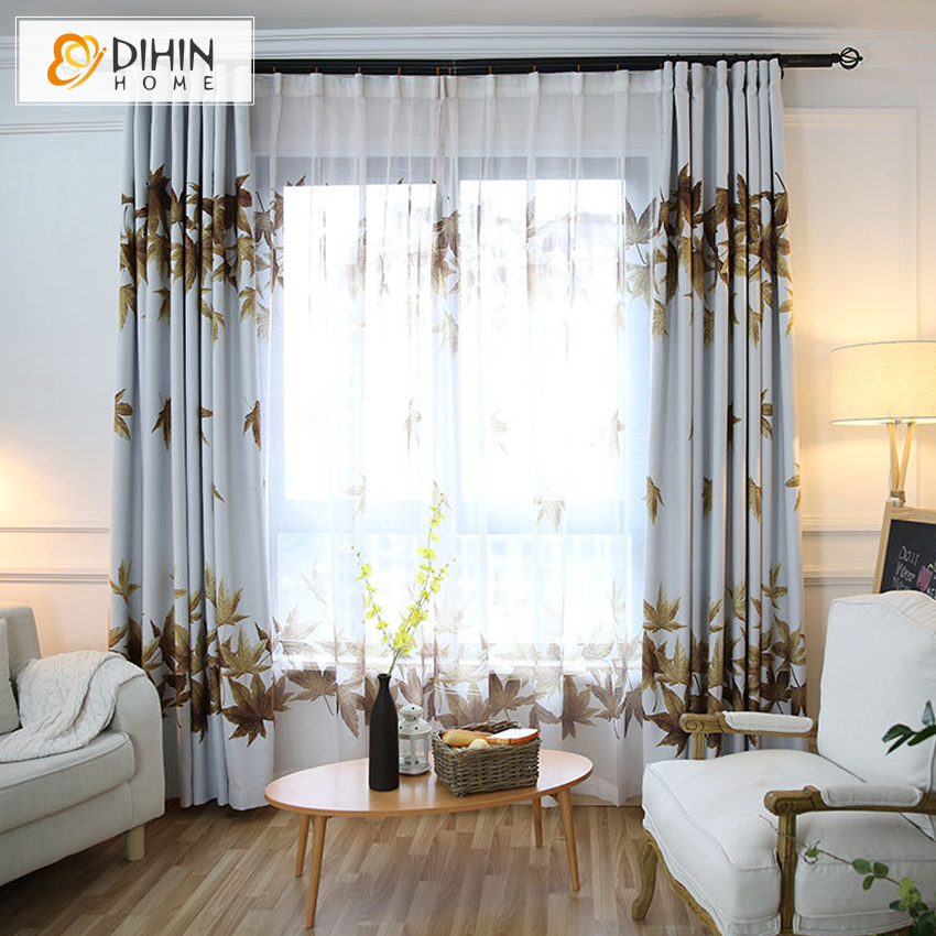 DIHIN HOME Garden Style Window Blackout Floral Curtain For