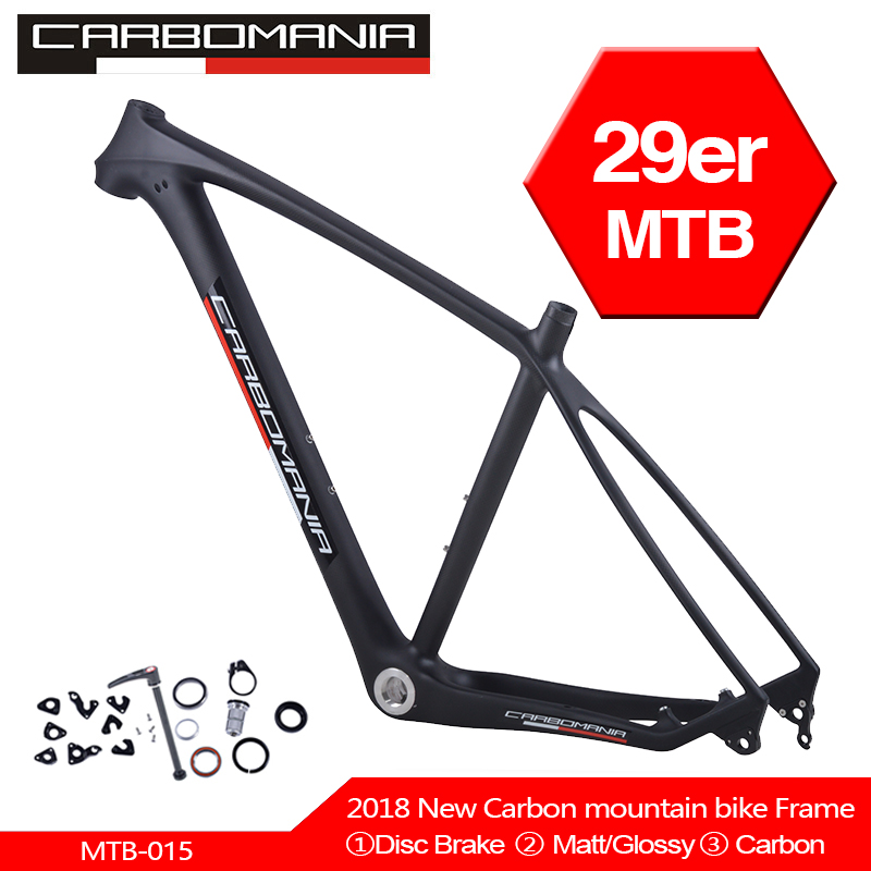 Carbomania Carbon MTB Bike Frame 29er Mountain Bicycle Frameset 29inch Carbon BSA Frame 3K Weave No Logo Disc Brake 160mm