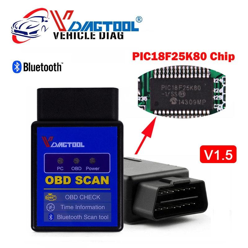 Prix pour Vdiagtool V 1.5 Bluetooth ELM 327 PIC18F25K80Version 1.5 OBD2 OBDII pour Android Couple Voiture Code Scanner Livraison Gratuite