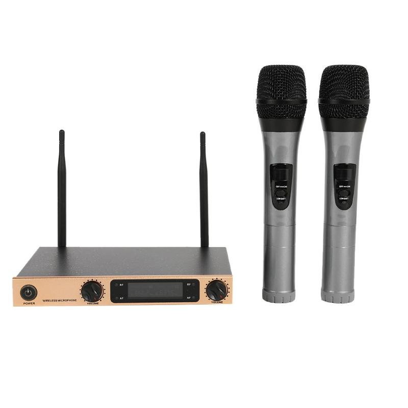 2 Handheld UHF Frequencies Dynamic 2 Ways Wireless Microphone For Karaoke Sustained For 5 Hours Karaoke Set Clear Sound Quality