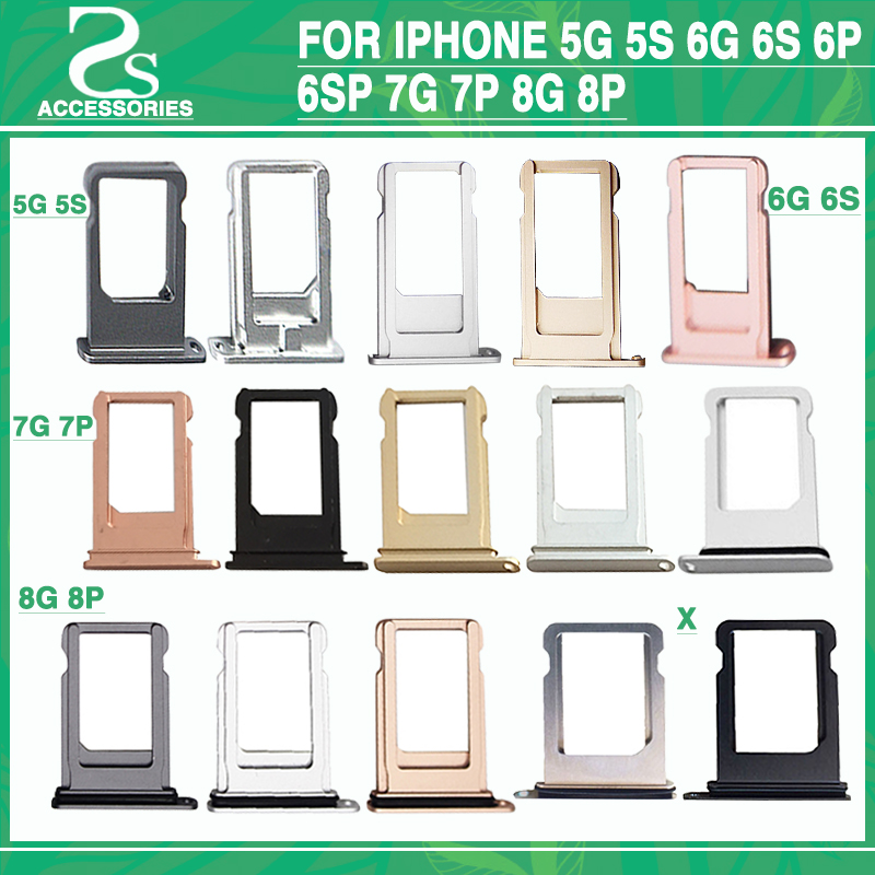 SIM Card Holder Tray Slot For iphone 5g 5s 6g 6s 6p 6sp 7g 7p 8g 8p Replacement Adapter SIM Card Tray Holder Socket Accessories