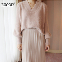 RUGOD Elegant V Neck Lantern Sleeve Knitted Sweater Women Loose Solid Cashmere Sweater Charming Soft Office Lady Pullover Tops